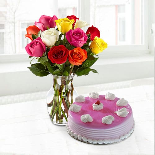 Buy Strawberry Cake with Assorted Roses in a Vase for Mom