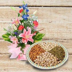 Breathtaking Bouquet of Flowers with Assorted Dry Fruits