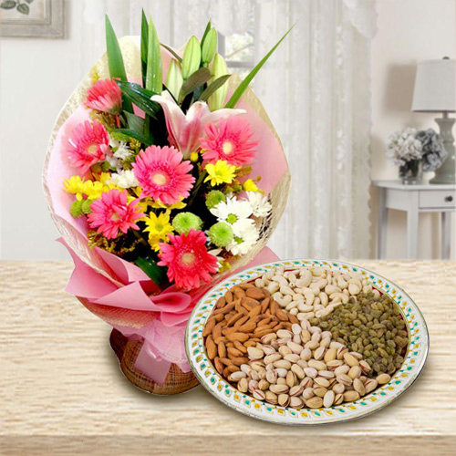 Multicolored Flowers N Assorted Dry Fruits