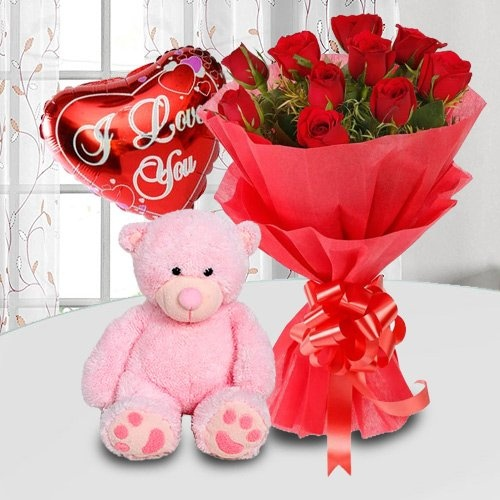 Beautiful Roses, Cute Teddy Bear and Balloons