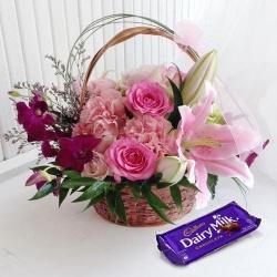 Lip-Smacking Cadburys Chocolate Box with Flower Arrangement
