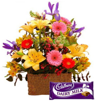Radiant Assortment of Blossoms and Dairy Milk Chocolate of Cadburys