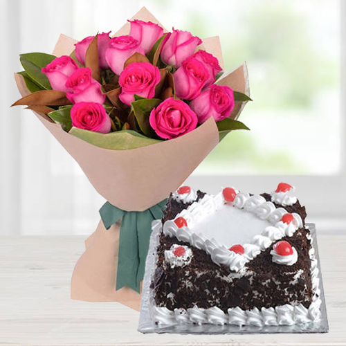 Bright 12 Pink Roses Bunch with 1/2 Kg Black Forest Cake