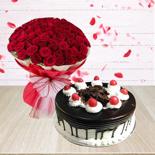 Exquisite 50 Red Roses Arrangement with 1/2 Kg Black Forest Cake