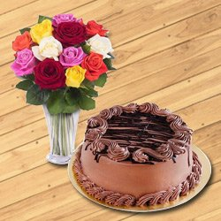 Graceful 12 Mixed Roses in a Glass Vase with 1/2 Kg Chocolate Cake