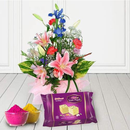 Seasonal flowers bouquet with Soan papri