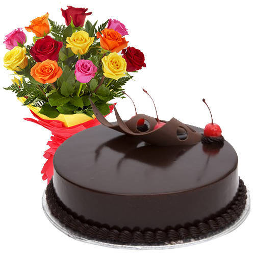 Striking 12 Mixed Roses with 1/2 Kg Chocolate Cake