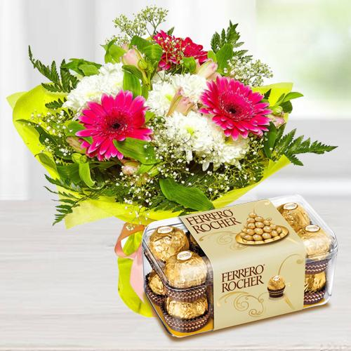 Send Seasonal Flower Bouquet with Ferroro Rocher 16 pcs Box