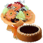 Order Mixed Flowers Bouquet N Eggless Cake