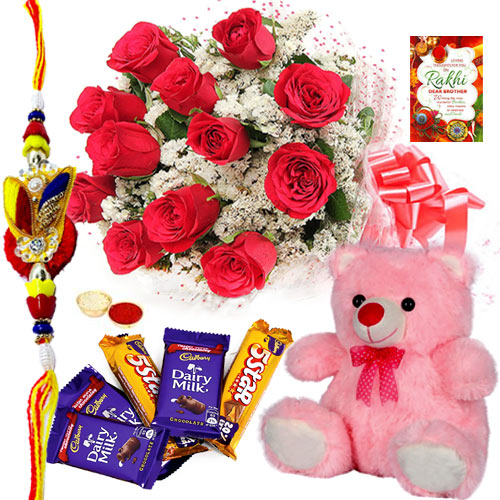 Dazzling Rakhi along with Chocolates and Rose Bunch