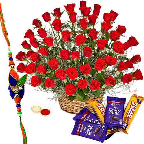 Appealing Assortment of Cadburys Chocolates with Two Dozen Red Roses