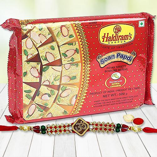 Irresistible <font color=#FF0000>Haldiram</font> Soan Papri with a Holy Rakhi