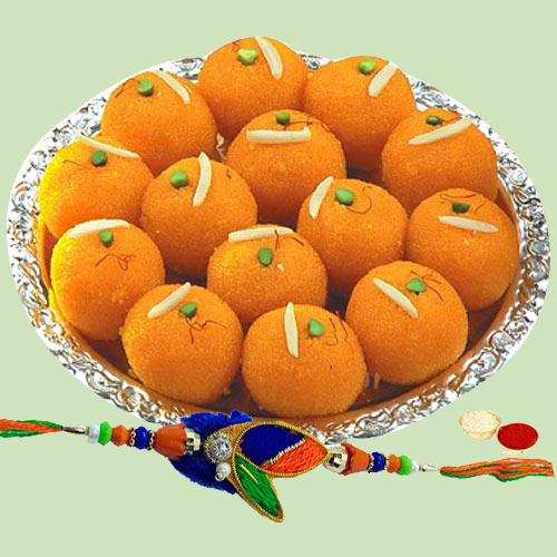 Classic Rakhi with Laddoos made of Pure Ghee