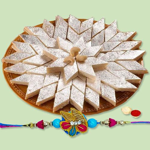Graceful Combo of Kaju Katli and Fantastic Rakhi