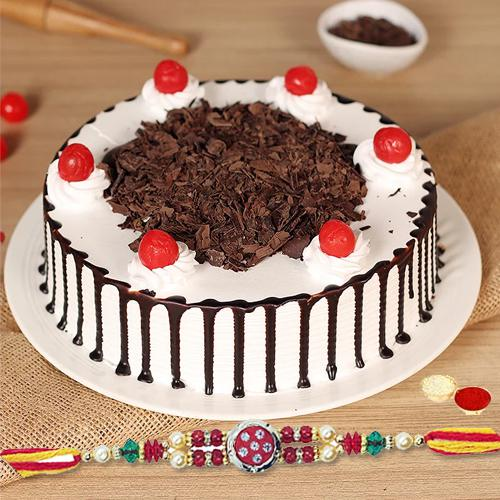 Delicious Black Forest Cake with Amazing Rakhi