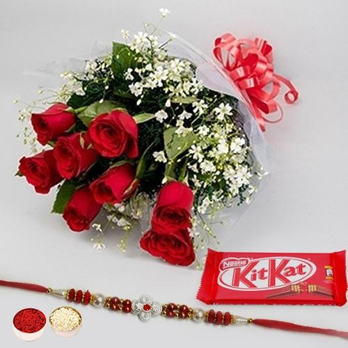 Rakhi with Red Roses and a free Kitkatt chocolate Pack