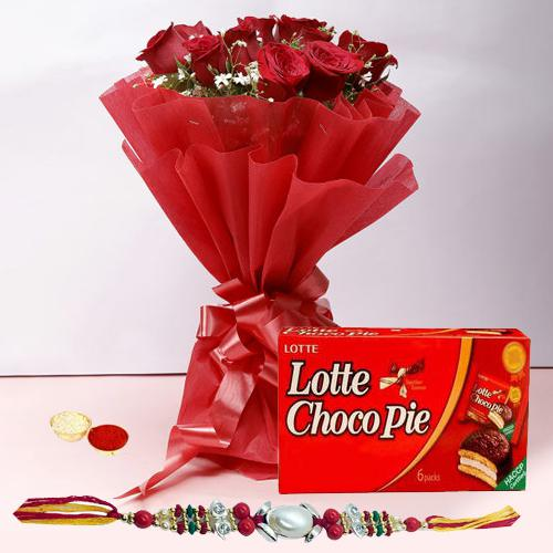 Lovely Rakhi with 12 Roses in Red and a Choco Pie Box