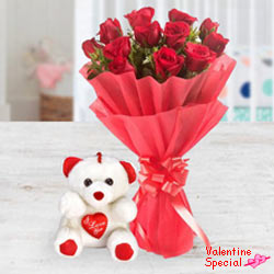 Exclusive <font color =#FF0000> Dutch Red </font> Roses  Bunch with a small teddy bear