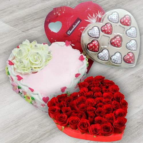 Stimulating 24 Red Roses, Heart Shaped Chocolate Box and 1 Lb Heart Shaped Cake