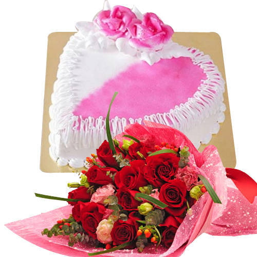 Buy Online Combo of Red Roses Bouquet N Heart Shaped Cake