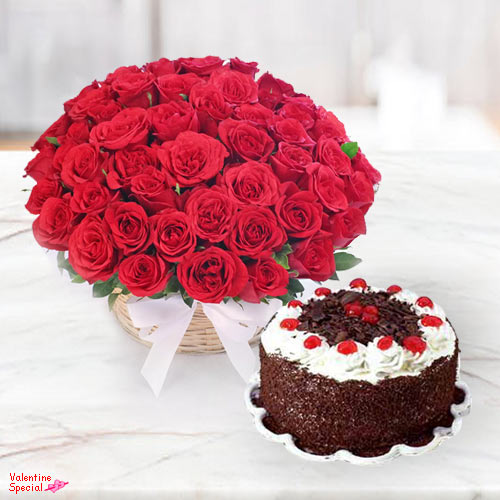 Rose Day Gift of Rose Basket N 5 Star Bakery Cake