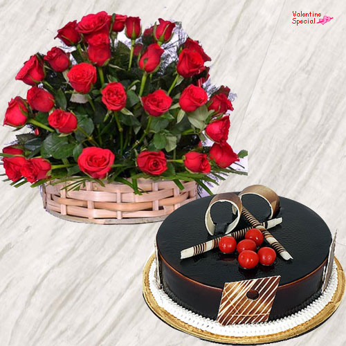 Chocolate Cake N Red Roses Basket for V-Day