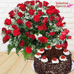 Dutch Red Roses with  Black Forest Cake