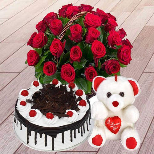 Shop Red Roses Basket with Black Forest Cake N Teddy Online