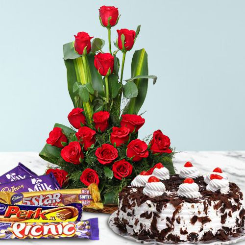 Rose Day Gift of Red Roses, Cake N Cadbury Celebration