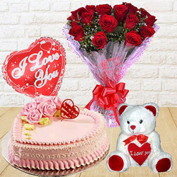 Attractive 12 Dutch Red Roses Bunch with Teddy Bear, 1 Lb Love Cake and Heart Shaped Balloons