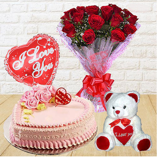 Online Order Red Roses Bunch with Teddy, Love Cake N Balloons