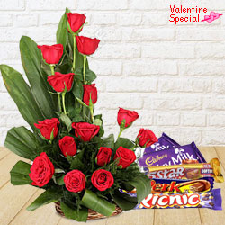 15 Exclusive <font color =#FF0000> Dutch Red </font>   Roses  Basket with Cadburys Assorted Chocolates