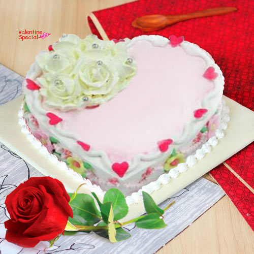 Online Order Single Red Rose N Heart Shape Cake