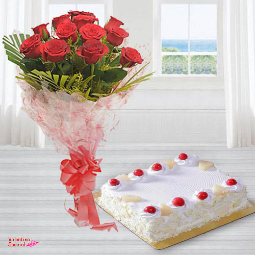Deliver Combo of Red Roses Bouquet N Eggless Cake Online