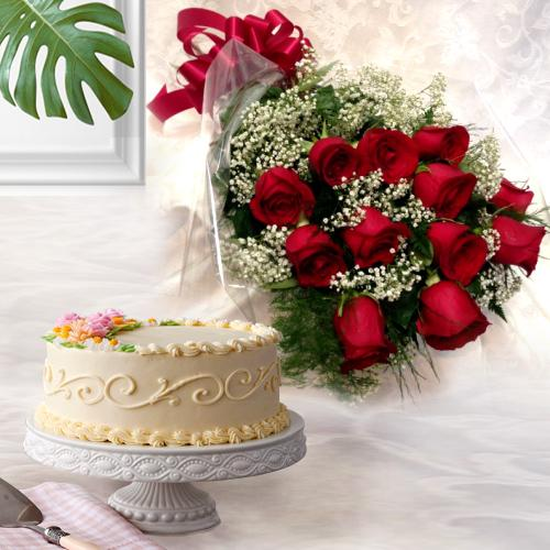 Send Combo Gift of Red Roses N Eggless Cake Online