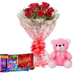 Dutch Red Roses, Huggable 12 inch Teddy Bear n Chocolates