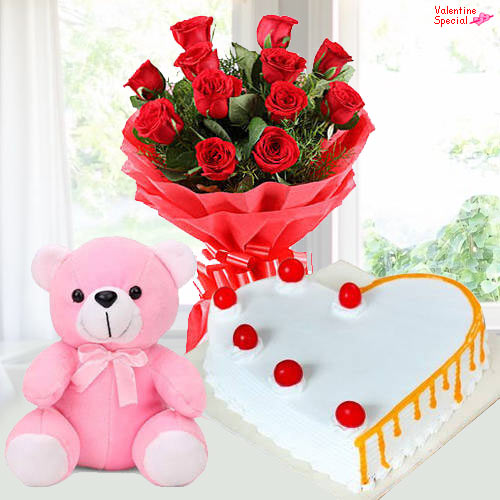 Order Red Roses with Teddy N Cake for Teddy Day