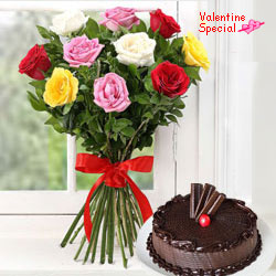 Send Dozen Assorted Roses n Cake to Kerala