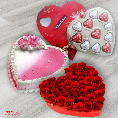 Rose Day Gift of Heart Shape Red Roses with Chocolates N Cake