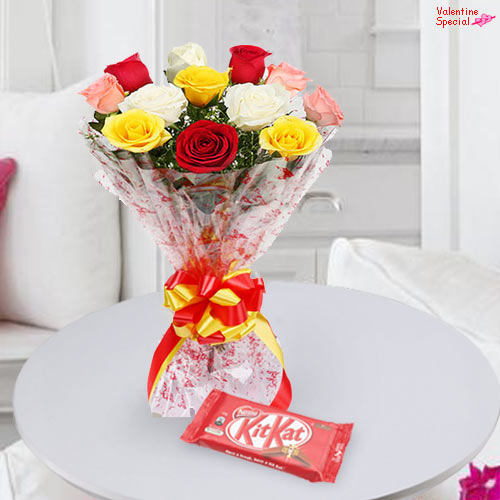Order Mixed Roses N Kit Kat Online