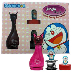 Exciting Arrangement of Jungle Magic Fresh Fruity Perfume with Other Doraemon Goodies