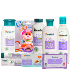 Dashing Combo of Baby Care Items with Teddy from Himalaya