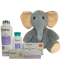 Trendsetting Himalaya Baby Care Gift Jar with Cute Elephant Teddy