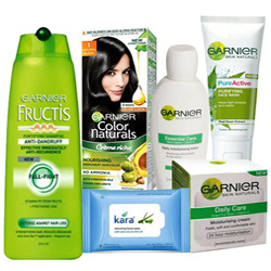 Attractive Women Special Skin N Hair Care Hamper from Garnier