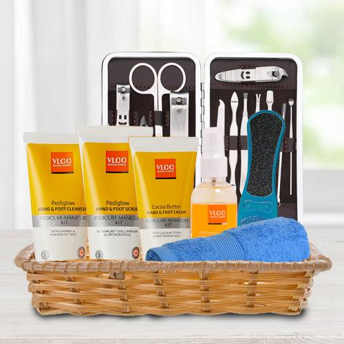 Gorgeous VLCC Essential Foot Care Products in Basket