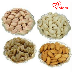 Auspicious Mixed Dry Fruits with Silver Plated Bowls