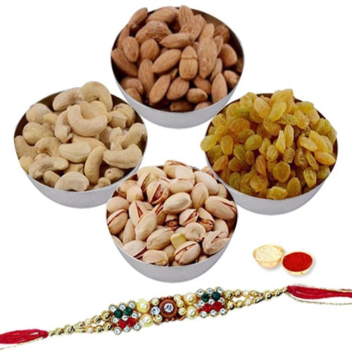 Designer Free Rakhi with Assorted Dry Fruits