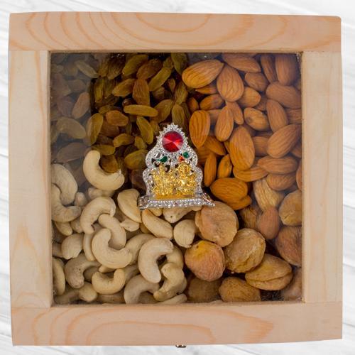 Marvelous Wooden Box of Assorted Dry Fruits n Ganesh Laxmi Mandap