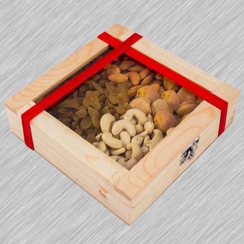 Marvelous Wooden Gifts Box of Assorted Dry Fruits