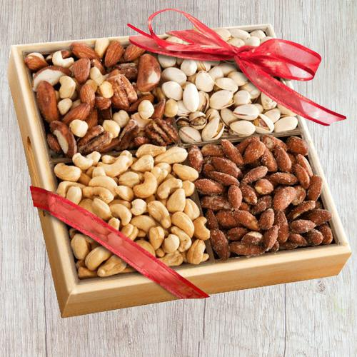 Special Wooden Tray of Premium Salted Dry Fruits